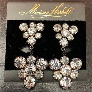 Miriam Haskell Fancy Crystal Clip Earrings